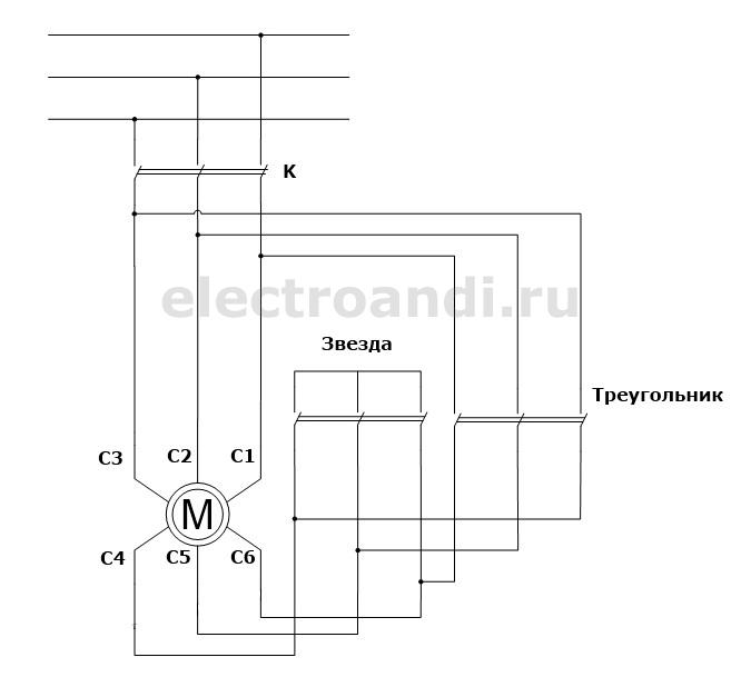 Схема запуска электродвигателя со звезды на треугольник